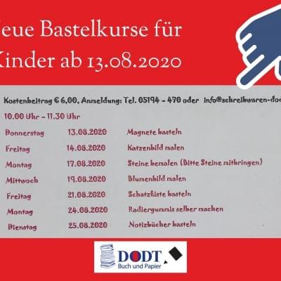 Neue Bastelkurse für Kinder im August 2020 | Dodt Bispingen