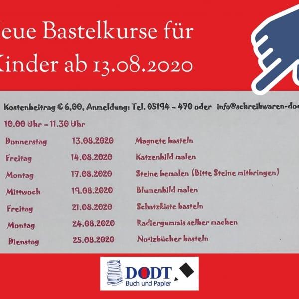 Neue Bastelkurse für Kinder im August 2020   Dodt Bispingen